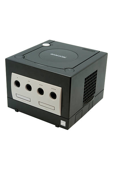 Nintendo Gamecube Console Adelaide, Australia - October 27, 2014: A studio shot of a Black Nintendo Gamecube console. A popular game console sold by nintendo worldwide during the early 2000's. nintendo stock pictures, royalty-free photos & images