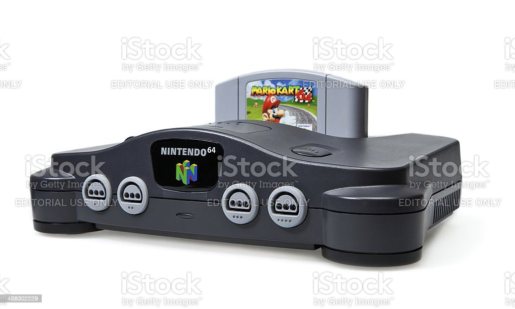 Nintendo N64 Console and Mario Kart Game stock photo