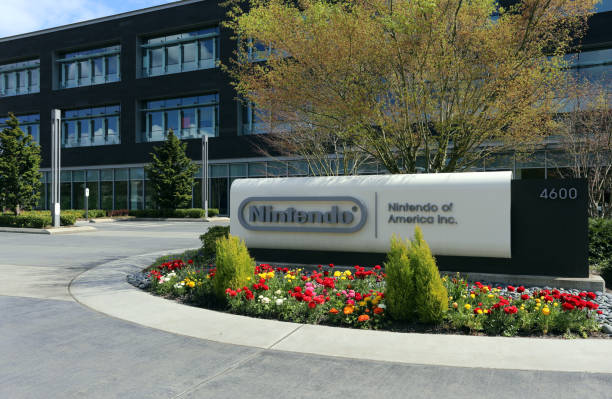 Nintendo of America Headquarters Redmond, WA, USA - April 15, 2017: The Nintendo of America headquarters in Redmond. Nintendo is one of the world's largest video gaming companies. nintendo stock pictures, royalty-free photos & images