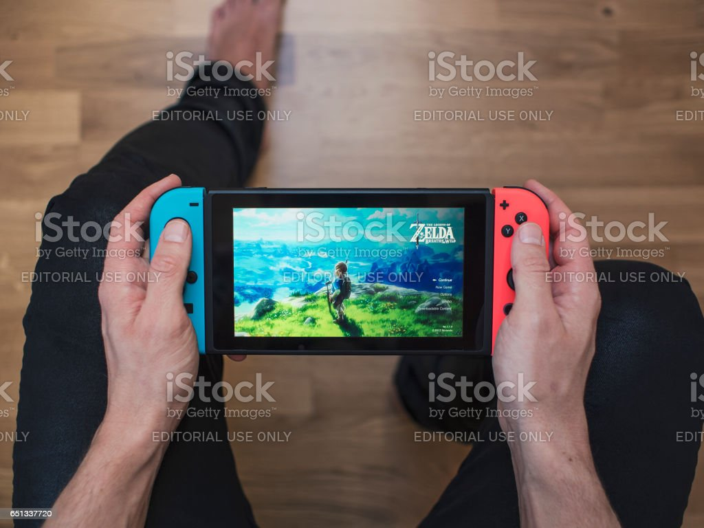 Nintendo Switch neon Game Console stock photo