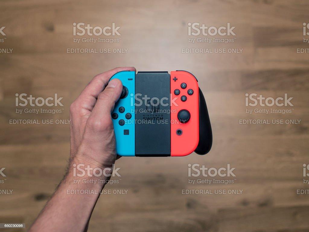 Nintendo Switch neon Game Controller stock photo
