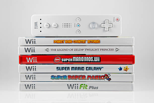 Nintendo Wii games and Controller stock photo