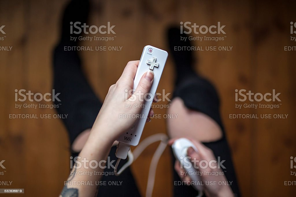 Nintendo Wii Remote - With Nunchuck stock photo