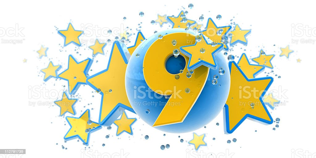 Ninth anniversary blue and yellow royalty-free stock photo