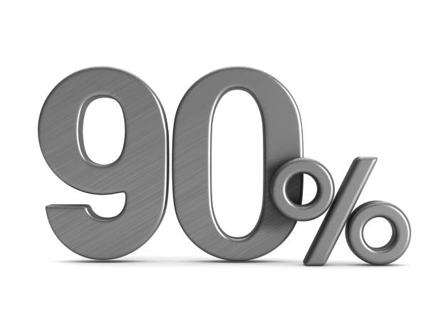 ninty percent on white background. isolated 3d illustration - number 90 stock photos and pictures