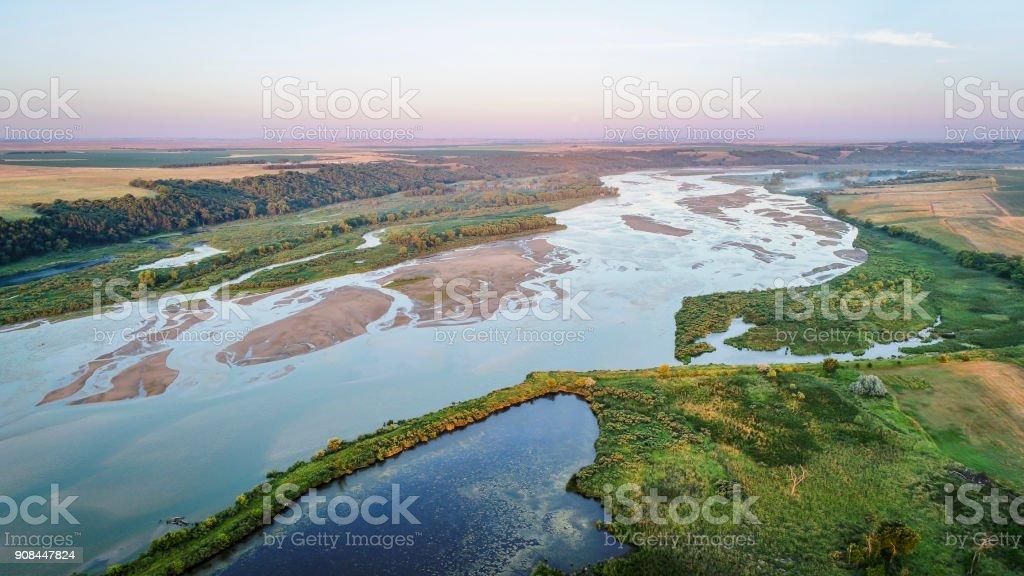 Niobrara River in Nebraska - aerial view stock photo