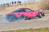 Siauliai, Lithuania - April 25, 2010: Nissan 240sx RPS13 drifting at License Day event. This event was only a selection event and amateur drivers who got highest scores were selected and had an opportunity to participate at Lithuanian Drifting Championship events.