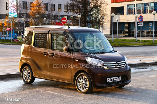 Novyy Urengoy, Russia - October 3, 2020: Japanese kei car Nissan Dayz Roox in the city street.