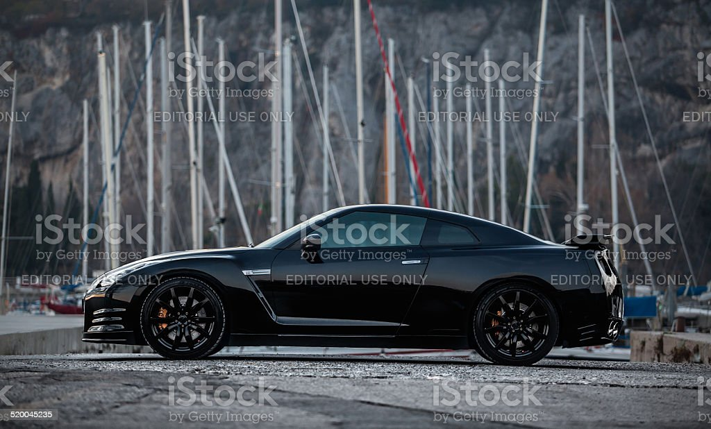 Nissan GTR Black Edition side stock photo