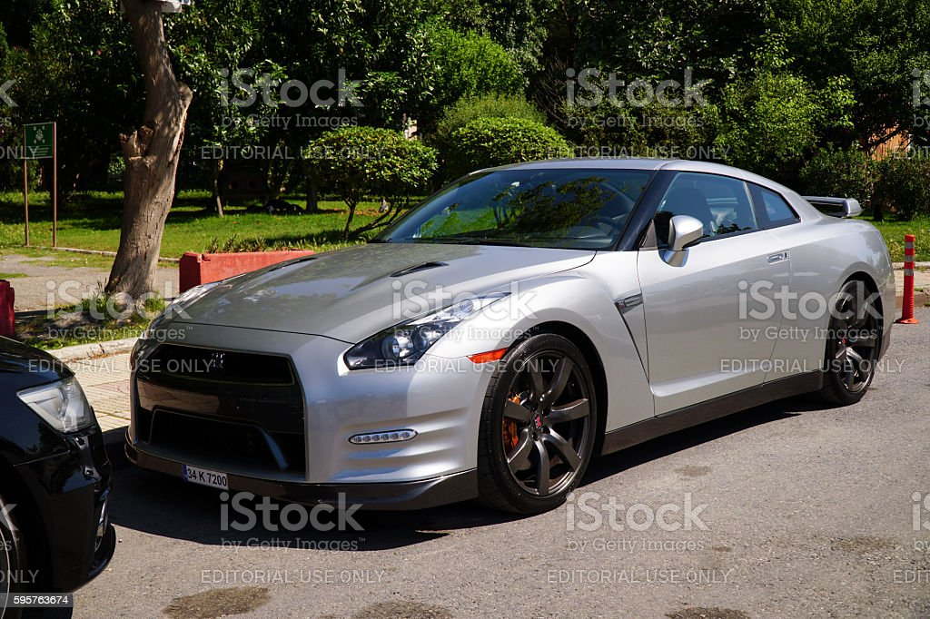 Nissan GT-R Premium R35 is Parked in Street stock photo