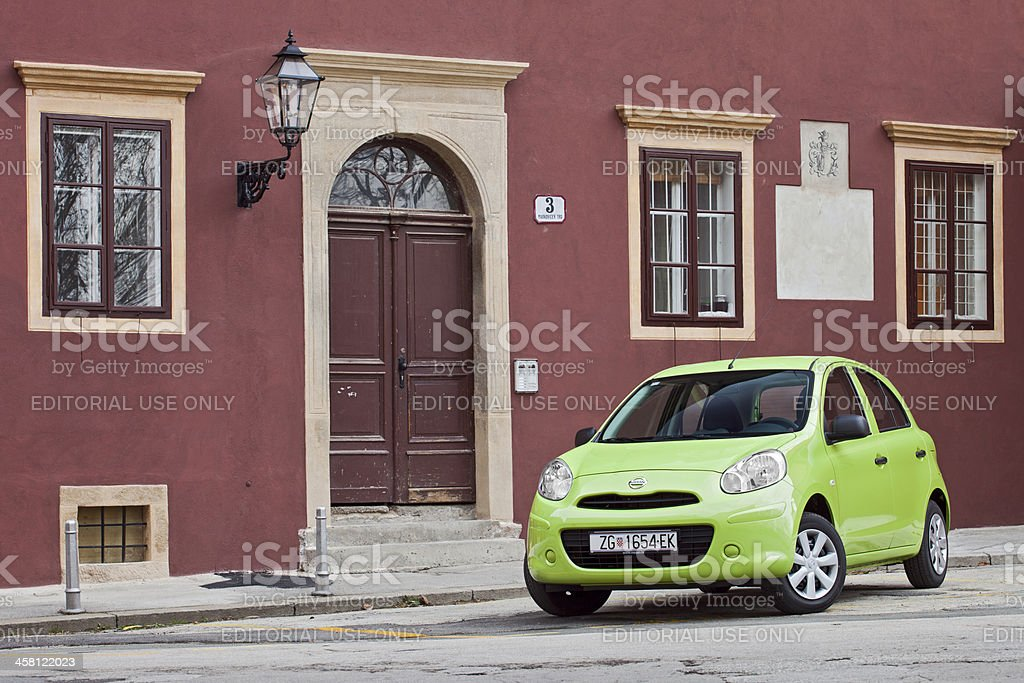 Nissan Micra in Zagreb downtown stock photo