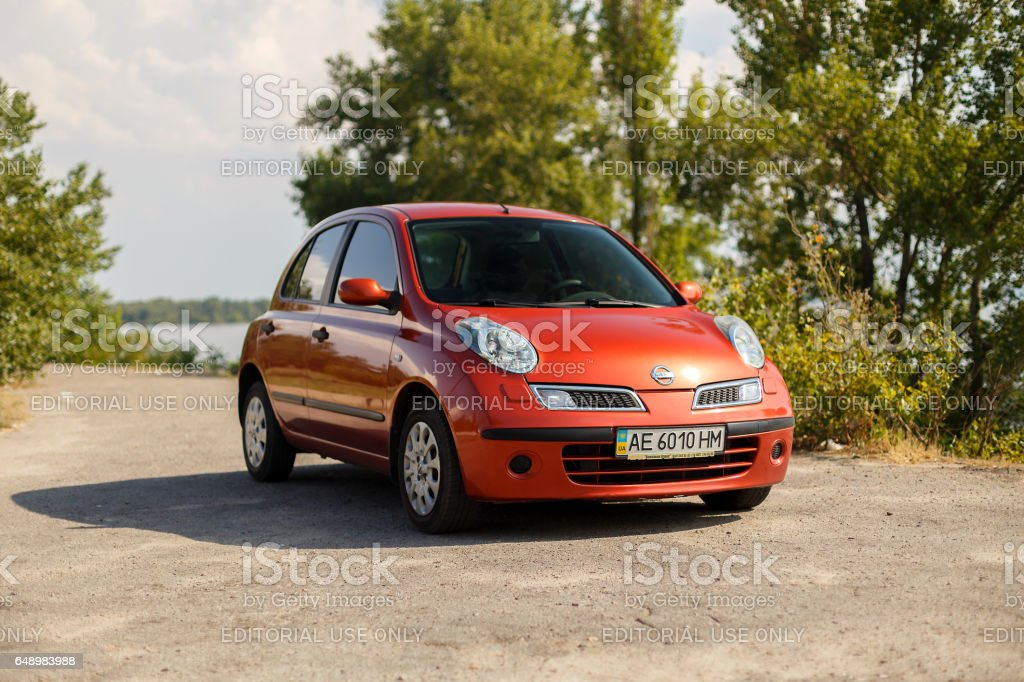 Nissan Micra near the river in the Dnipro city stock photo