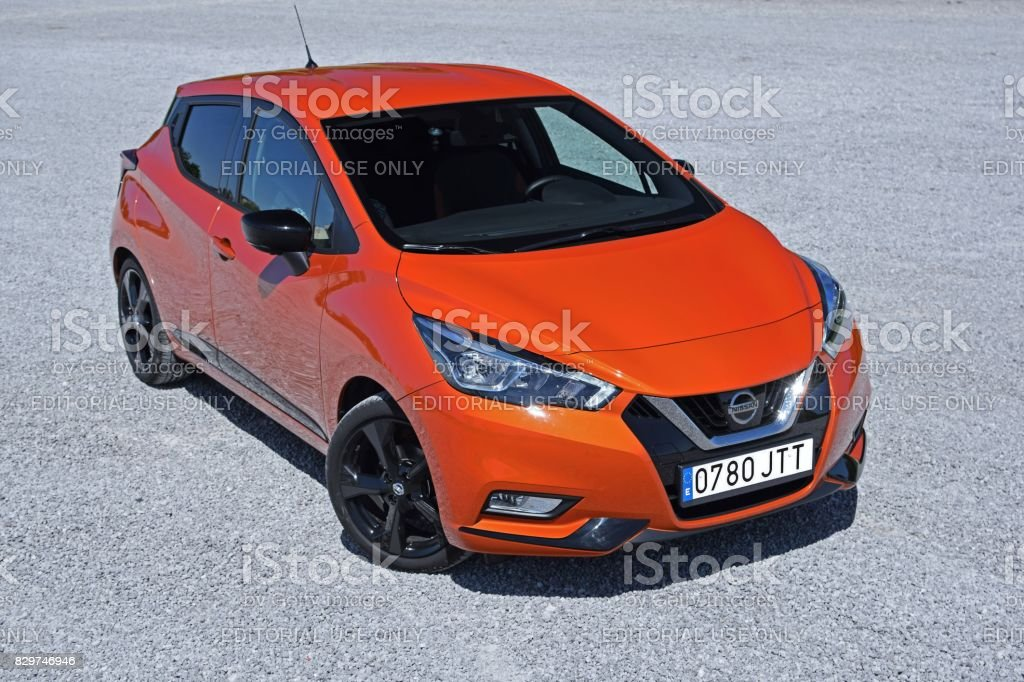 Nissan Micra on the parking stock photo