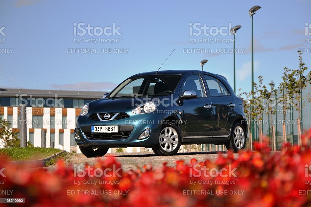Nissan Micra on the road stock photo