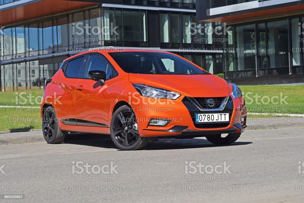 Nissan Micra on the street stock photo