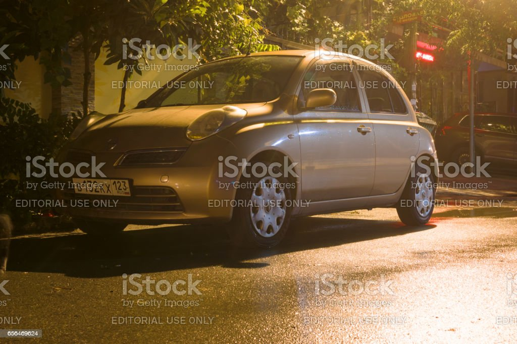 Nissan Micra parked. stock photo