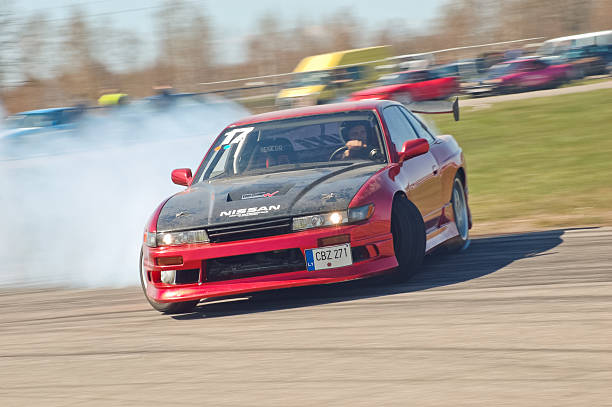 Nissan PS13 drifting hard stock photo