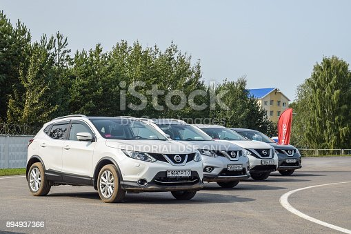Minsk, Belarus - September 12, 2017: Range of Nissan SUV's parked outside at the test-drive event. All Nissan crossovers are equipped with an all-wheel-drive transmission.