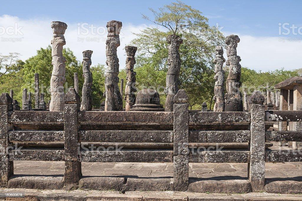 Nissanka Latha Mandapaya in ancient city of Polonnaruwa, Sri Lanka royalty-free stock photo