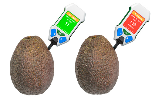 istock Nitrate testers with avocados. Measurement of nitrate levels in avocados, normal range and higher than norm. 3D rendering isolated on white background 1182936737