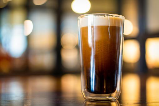 Nitro cold brew coffee close up.