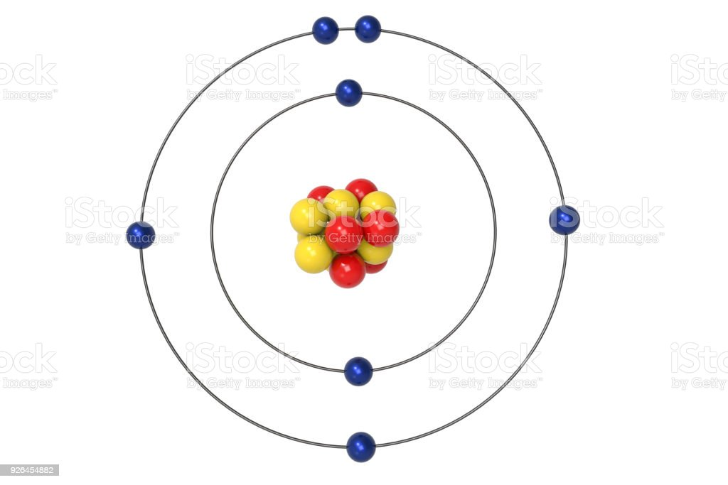 Nitrogen Atom Bohr Model With Proton Neutron And Electron Stock