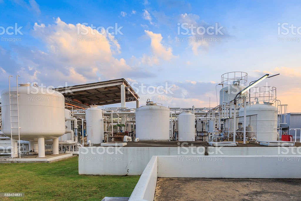 Nitrogen chemical plant for factory stock photo