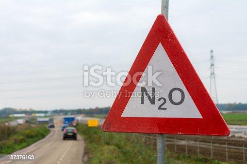 Nitrogen oxide warning sign in front of a building site Nitrogen crisis in the netherlands