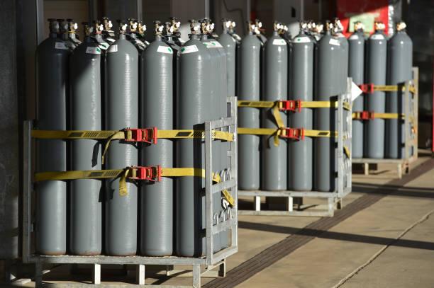 Nitrogen gas bottles stock photo