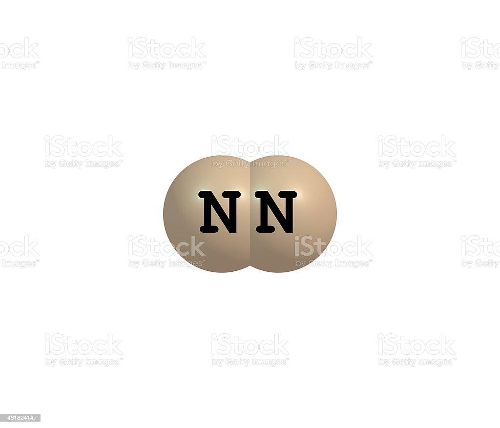 Nitrogen molecular structure isolated on white royalty-free stock photo