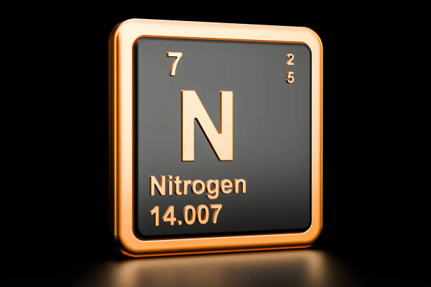 nitrogen n, chemical element. 3d rendering isolated on black background - azoto foto e immagini stock