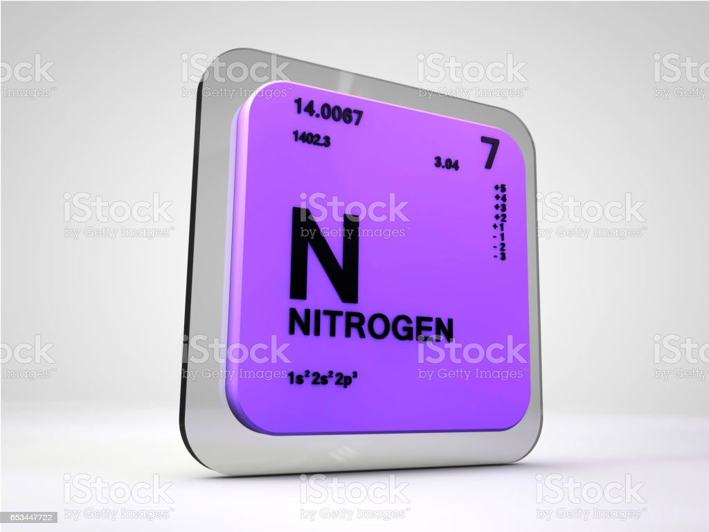 Nitrogen N Chemical Element Periodic Table 3d Render Stock Photo