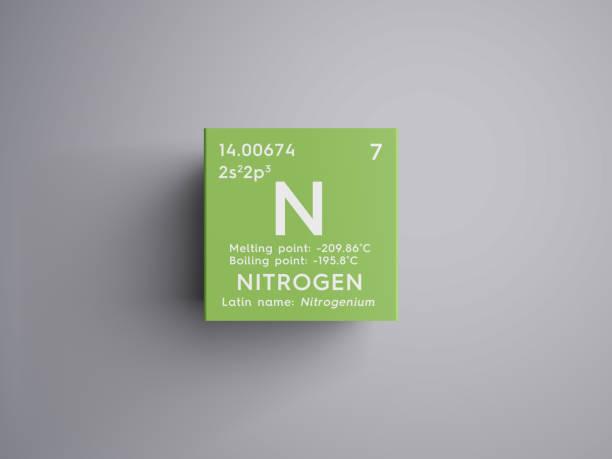 질소입니다. 다른 비금속입니다. 멘델레예프의 주기율표의 화학 요소입니다. 스톡 사진