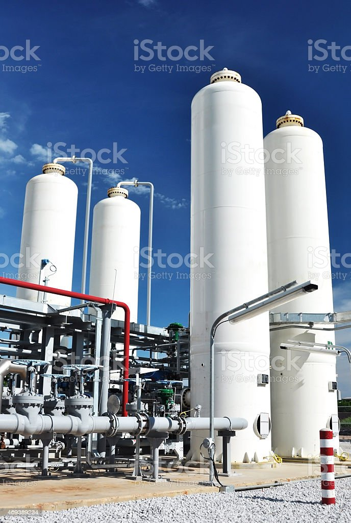 Nitrogen storage tank, Industrial storehouses stock photo
