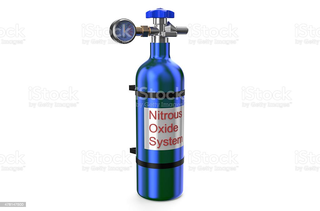 Nitrous Oxide System Gas Cylinder Stock Photo - Download Image Now