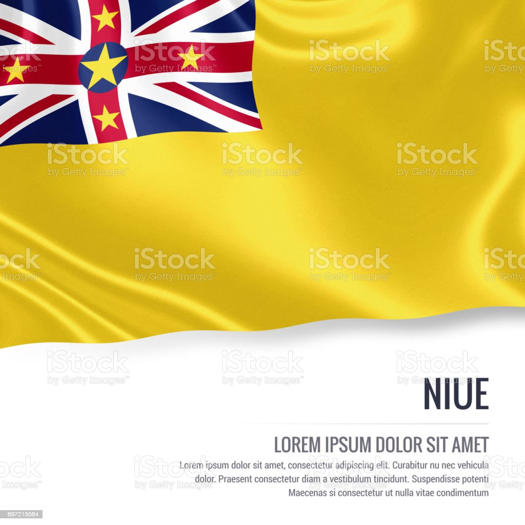 Niue flag. Silky flag of Niue waving on an isolated white background with the white text area for your advert message. 3D rendering. stock photo