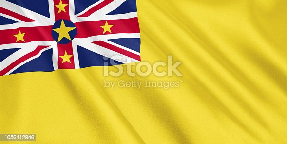 1056280906 istock photo Niue flag waving with the wind, wide format, 3D illustration. 3D rendering. 1056412946