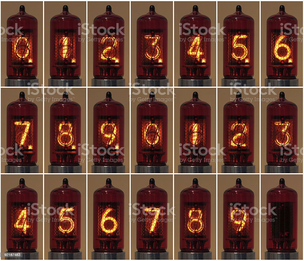 Nixie Numbers With Decimal Point royalty-free stock photo
