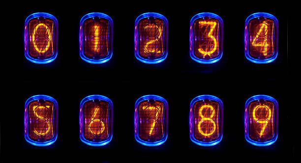 nixie a numerical counter and number sequence using an old nixie tube clock anode stock pictures, royalty-free photos & images