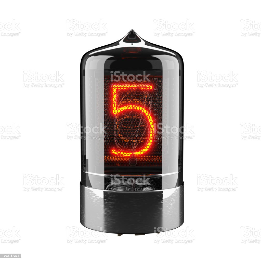 Nixie Tube Indicator Isolated On White The Number Five Of Retro 3d Render
