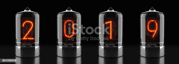 istock Nixie tube indicator, lamp gas-discharge indicator on dark background. The number 2019 of retro. 3d rendering. 954069556