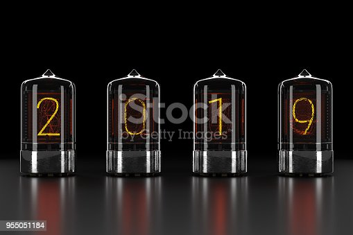istock Nixie tube indicator, lamp gas-discharge indicator on dark background. The number 2019 of retro. 3d rendering. 955051184