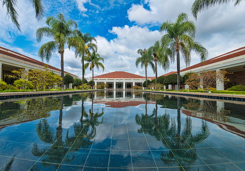 Yorba Linda, California, USA - July 20, 2015: The Richard Nixon Library and Museum in Yorba Linda, California. Nixon was the 37th president of the United States, from 1969 to 1974.