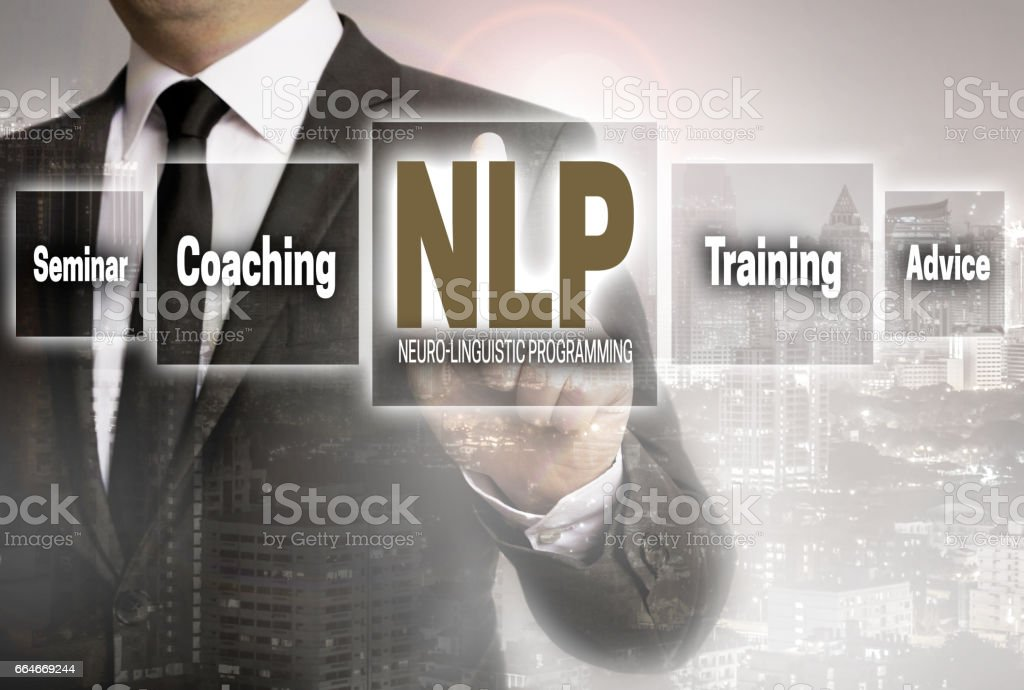 Nlp businessman with city background concept stock photo