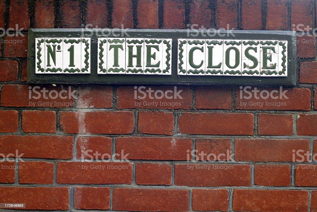 No. 1 The Close Sign on Brick Wall royalty-free stock photo