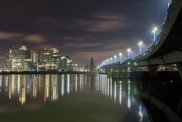 no. 2 road bridge at night - british columbia stock photos and pictures