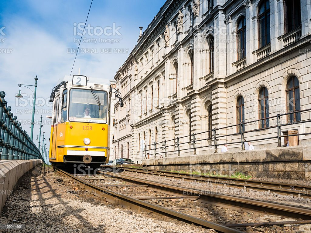 No 2 tram passing through Budapest ,Hungary royalty-free stock photo