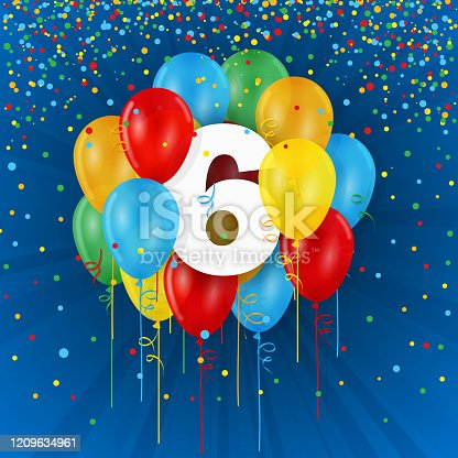 istock No 6 with colorful balloons 1209634961