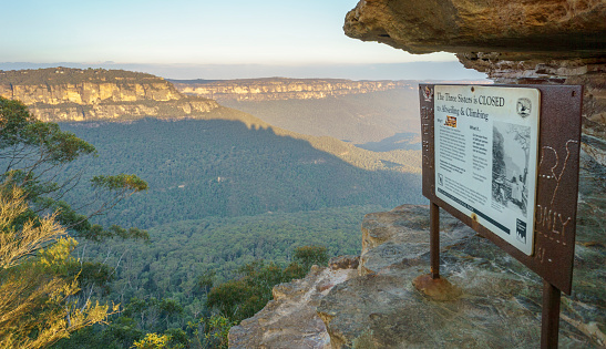 No abseiling and climbing at Three Sisters rock formation