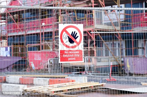 No access health and safety sign at building construction site fence uk
